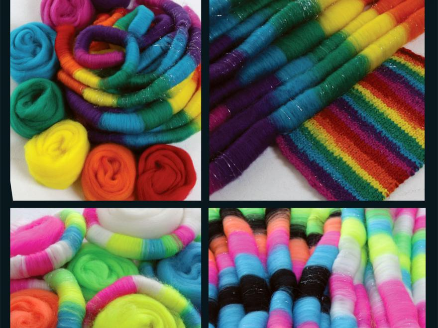 Rainbow bright and fluro corriedale 7 colour sliver packs