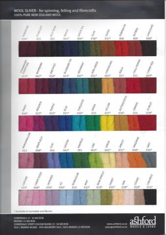 Colour Card - Dyed Corriedale & Merino